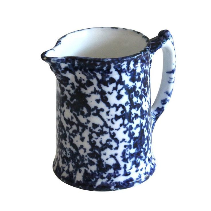 19th Century Spongeware Farmhouse Pitcher | From a unique collection of antique and modern pitchers at https://www.1stdibs.com/furniture/dining-entertaining/pitchers/