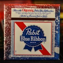 Vintage Pabst Blue Ribbon - PBR - American Theme - Recycled Beer Label Coaster $14.99