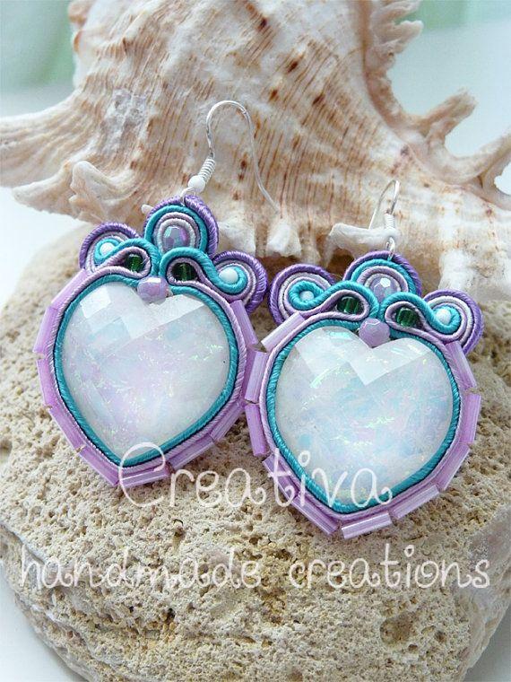 Soutache earrings heart by Creattivita on Etsy, €25.00
