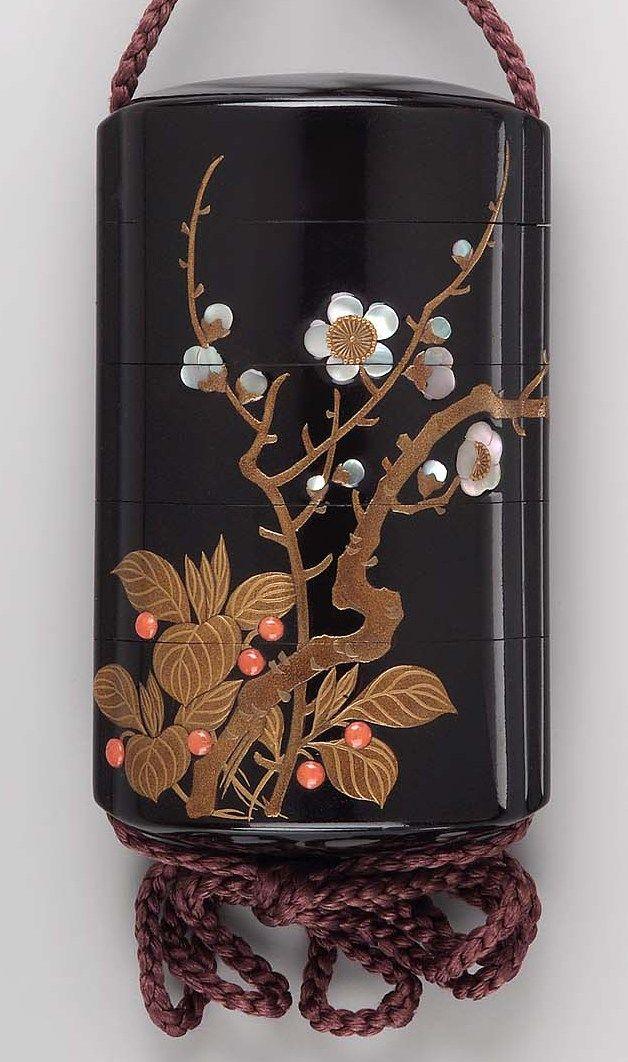 Four-case inro with design of moon and plum tree. Edo period Early 19th century - Sakai Hôitsu (Japanese, 1761–1828)