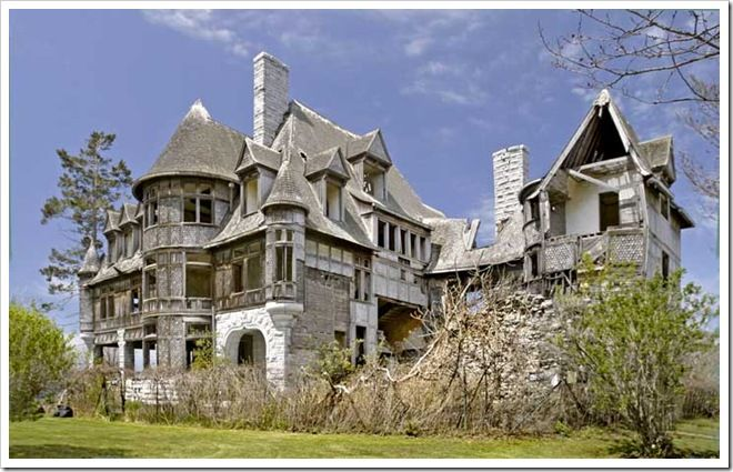 Carleton Villa, near Cape Vincent, amazed viewers as the most ambitious house on the river when completed in 1894.  The huge edifice has been derelict for more than seventy years now.  Amazingly, it still stands, due to its substantial construction—still causing wonderment.