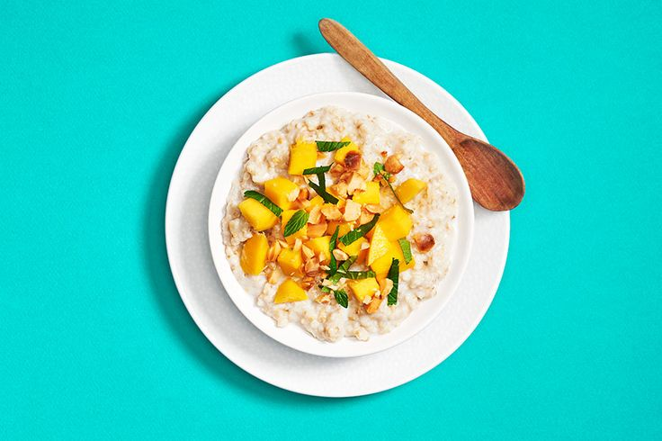 Tropical Mint Oatmeal —Mourning the end of summer break? Let this sunny breakfast cheer you up. Macadamia nuts add filling protein and extra tropical flavour, but any kind of nut will do.