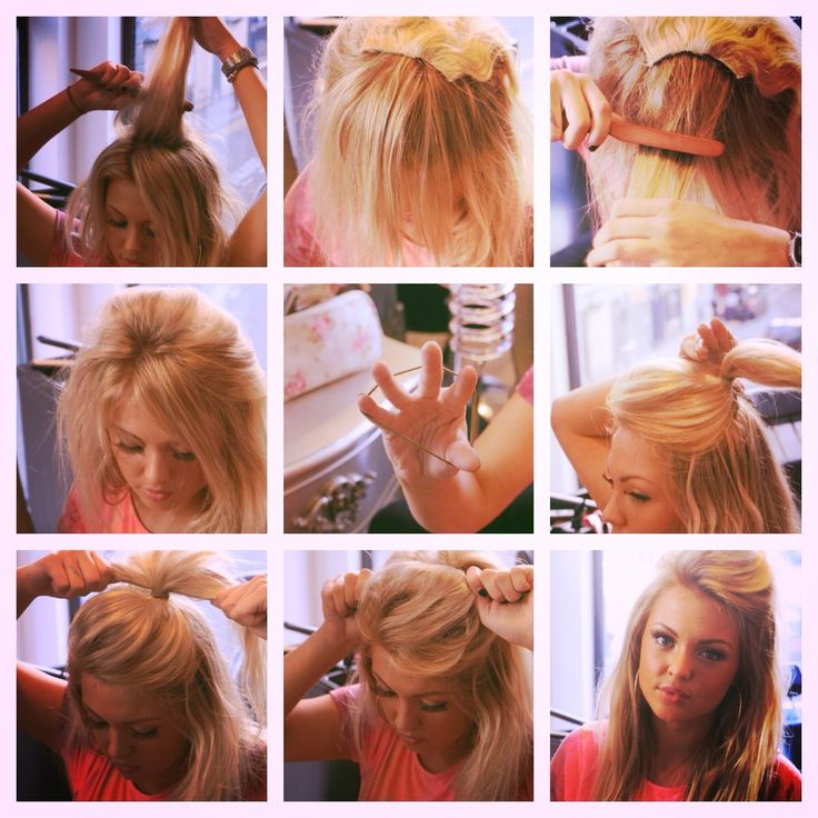 Get my super easy Signature 'Hippy Half-Up Half-down' hair Style..  TOOLS: back combing brush - Clip in Hair extensions 2-3 peices! :) Your ready..  1. Part the amount of hair you want to be tied up.  2. Part this in half again and clip in all layers of Hair Extentions close together. 3. Use your back combing brush to add volume the hair you have infront of the Extentions 4. Pull back into a hair bobble 5. Pull tight then pull and tweak to give extra volume and style.  6. Complete :)