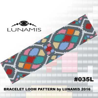 Bracelet pattern, loom pattern, square stitch pattern, pdf file, pdf pattern, cuff, #035L by LunamisBeadsPatterns on Etsy