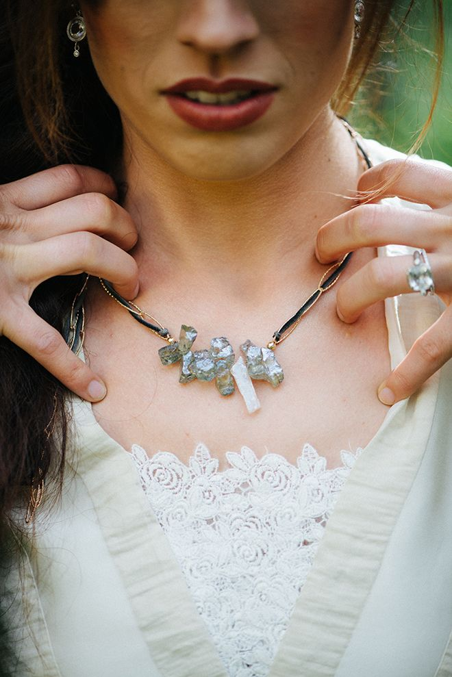 Bridal necklace by Ashley Schenkein Jewelry | Where the wild things are | Elizabeth Cryan Photography