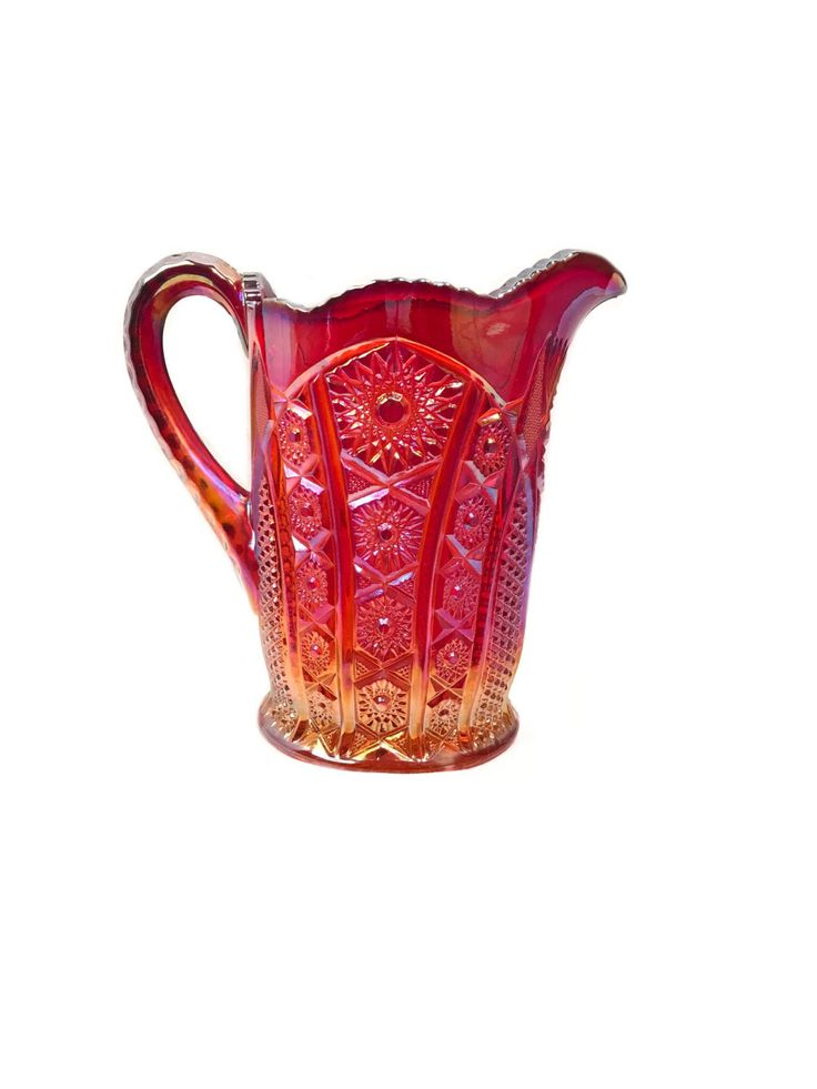 New in our shop! Red Sunset Heirloom Carnival Glass Pitcher by Indiana Glass https://www.etsy.com/listing/505959725/red-sunset-heirloom-carnival-glass?utm_campaign=crowdfire&utm_content=crowdfire&utm_medium=social&utm_source=pinterest