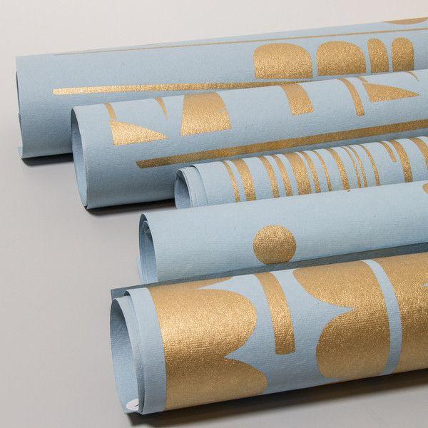 Handmade Artpaper - Gold on Light Grey Geschenkpapier
