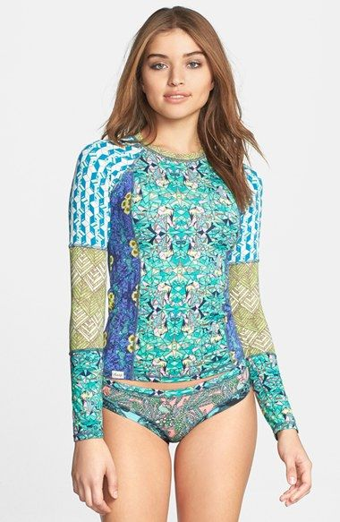 Rash guard tops protect from the sun's rays, and this one is so cute! #Swimwear that works! Maaji 'Rock Paper Scissors' Rashguard | Nordstrom