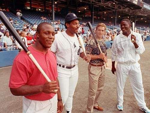 Detroit Sports Royalty: Barry Sanders, Cecil Fielder, Steve Yzerman, and Joe Dumars.