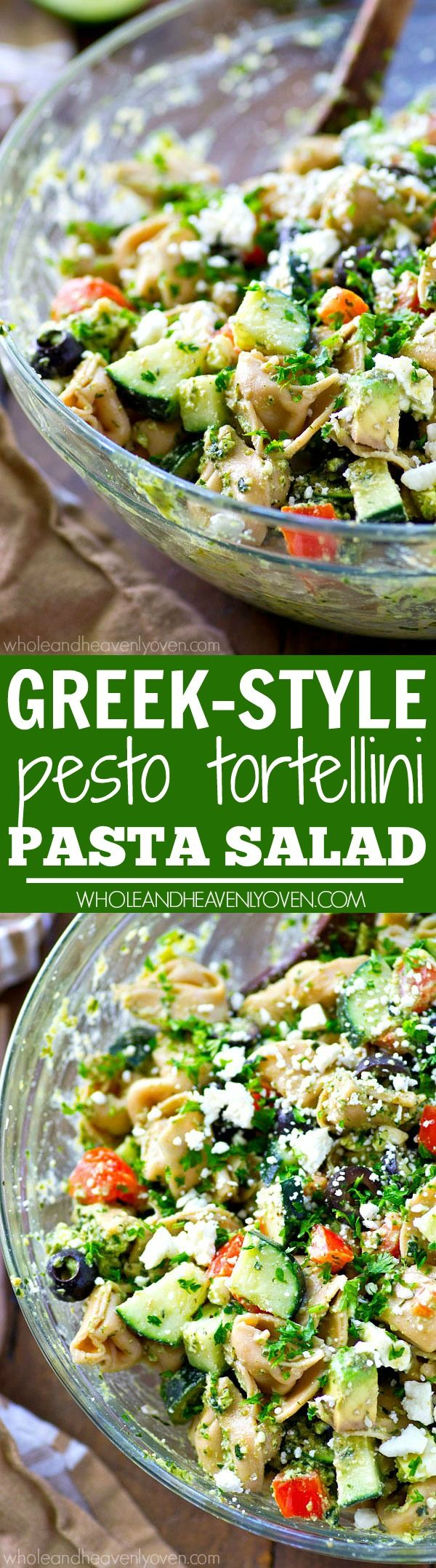 Your new favorite summer salad! This easy tortellini pasta salad is piled high with Greek-style goodness and tossed in an amazing pesto dressing.