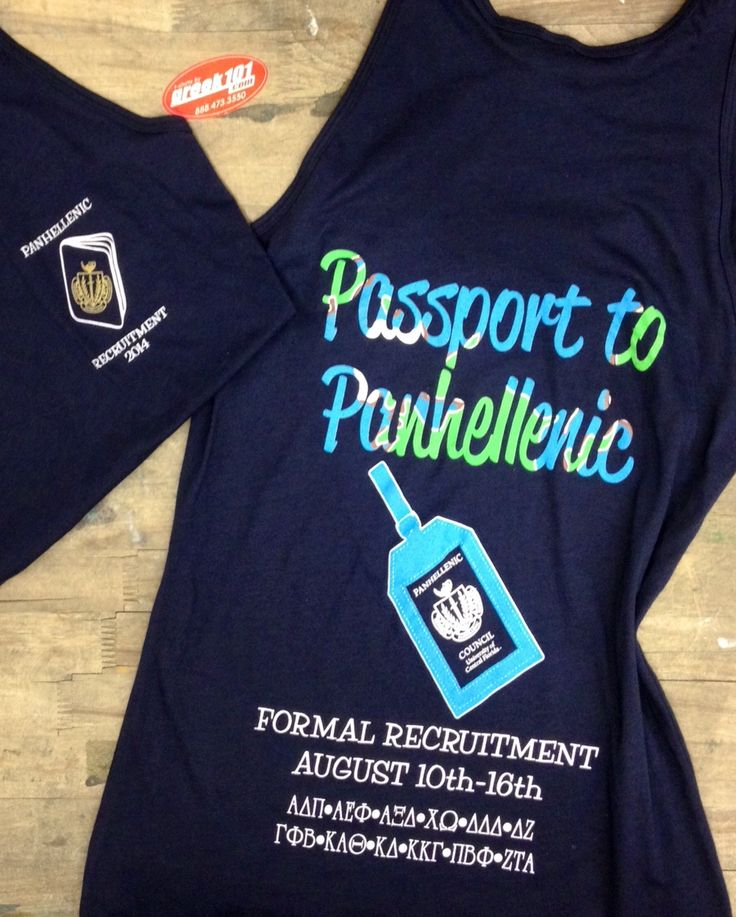 Go Greek! Panhellenic Crest - American Apparel tanks. Recruitment Passport theme Greek101.com, inquiry@greek101.com, 888-473-3550