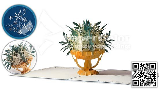3D Flower Pop up card, Pop up greeting card, Popup card, Kirigami card