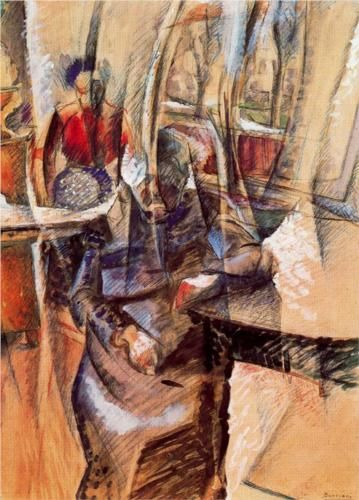 Interior with Two Female Figures by Italian artist Umberto Boccioni (1882-1916). This painting is now held at the Castello Sforzesco in Milan.