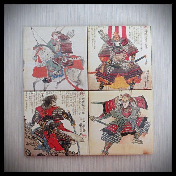 Japanese Samurai Warriors  4 Piece Ceramic Tile by LUSHCoasterLand