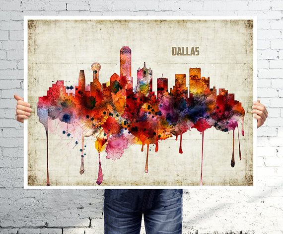 Dallas art print poster skyline watercolor wall for Dallas mural artists