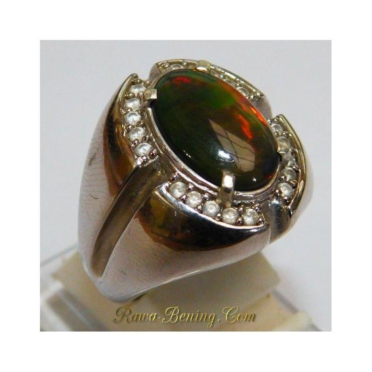 Cincin Pria Exclusive Silver 925 3D Black Opal Model Etnik Ring 9US