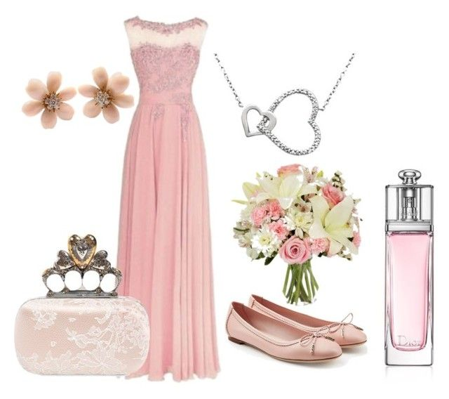 Dusky Pink for Weddings by belle-boutique-uk on Polyvore featuring Salvatore Ferragamo, Alexander McQueen, Van Cleef & Arpels and Christian Dior