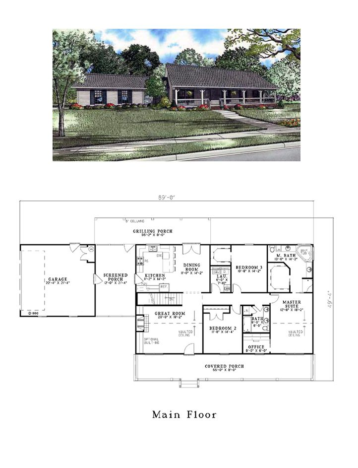 Country House Plan 61392 | Total Living Area: 1800 Sq. Ft., 3