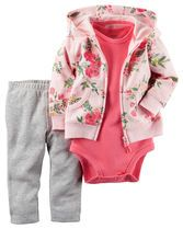 In a soft terry cotton, this floral-printed cardigan set is complete with a soft cotton bodysuit and pants.