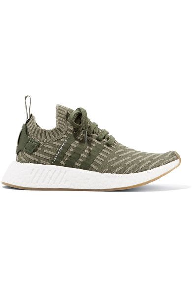b55adb243abb8 adidas Originals - Nmd r2 Leather-trimmed Primeknit Sneakers - Army green