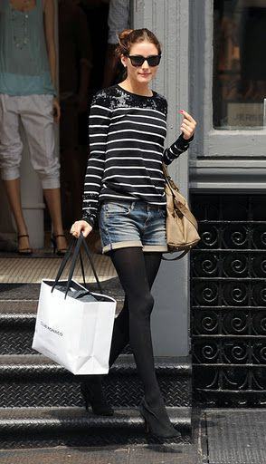 cool weather shorts done right - denim boyfriend shorts, black tights and boots, breton stripe inspired long sleeve top