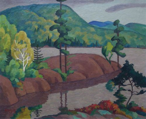 Edwin Holgate (Canadian, 1892-1977), Lac tremblant, 1935, oil on canvas 18x21.5 in)