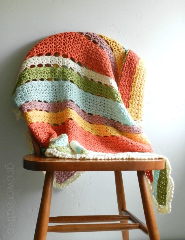 Striped Crochet Baby Blanket and Free Pattern* ༺✿ƬⱤღ  http://www.pinterest.com/teretegui/✿༻