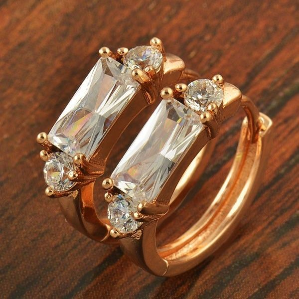 9k rose gold-filled hoop earrings, with CZ bling, 18mm x 4mm @ AUD$12.00