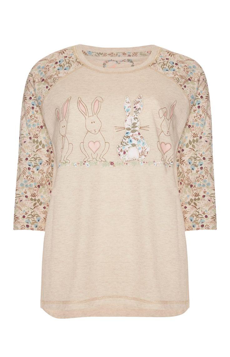 Long-Sleeved Ditsy Bunny Pyjama Top