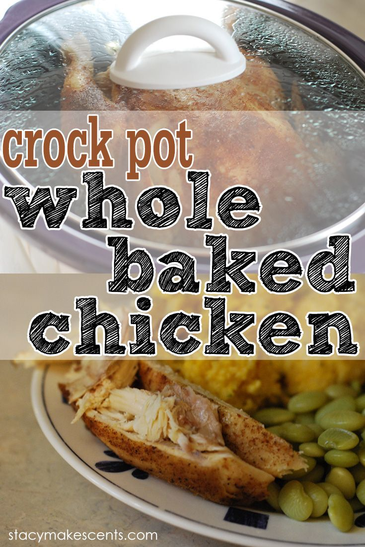 Crock Pot Whole Baked Chicken. This way of cooking a whole chicken is so easy and so delicious! The meat is so tender and it just falls off the bone.