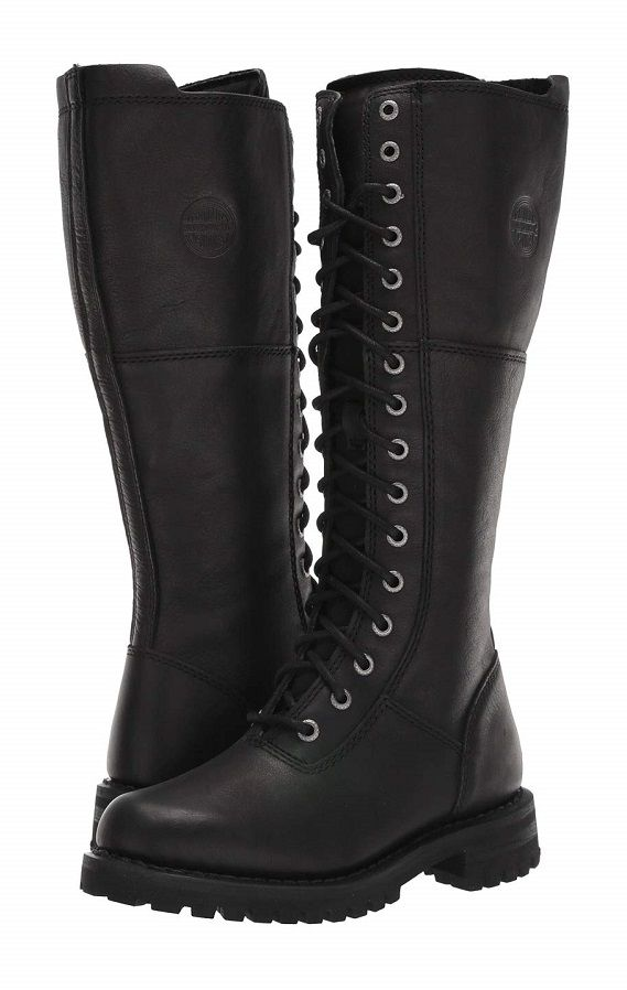 Leather combat boots women, Knee high