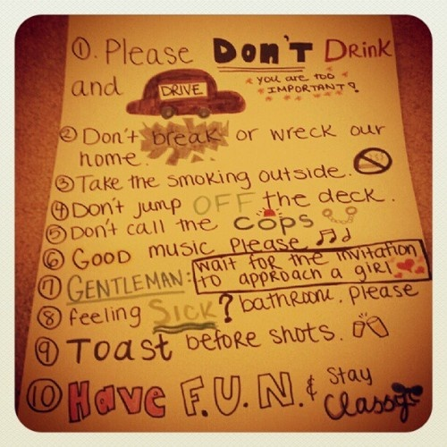 17 Best Ideas About House Party Rules On Pinterest