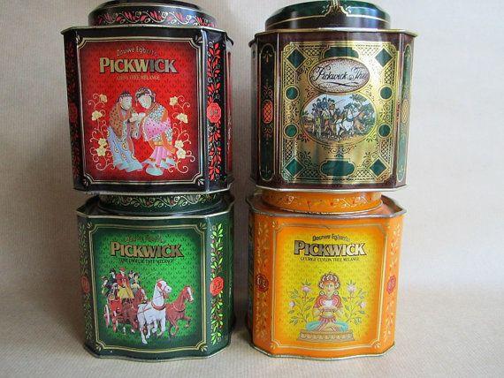 Vier Vintage Pickwick Thee Blikken