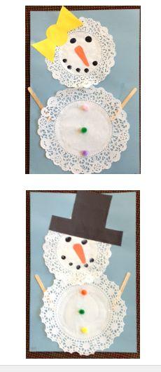 Paper doily snowman craft for preschoolers #snowman #craft #preschool #winter