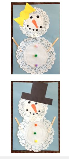 Paper doily snowman craft for preschoolers #snowman #craft #preschool #winter
