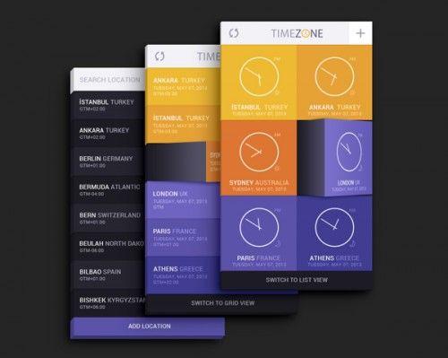 Интерфейс приложения Time Zone