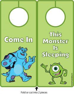 {Free} Printable Monsters Inc, Door Hangers