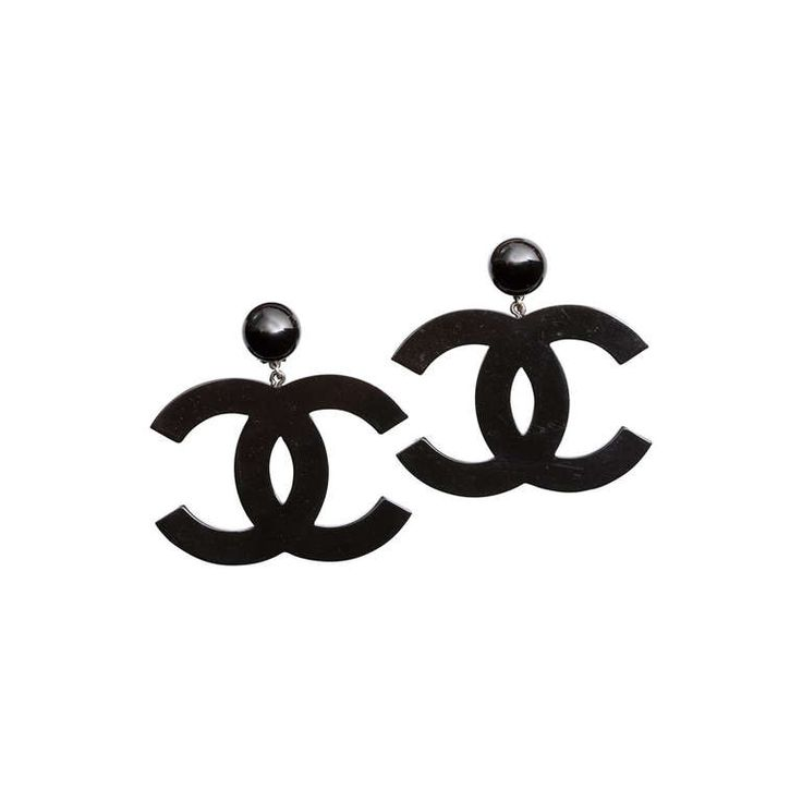 Chanel Large Black CC Dangling Earrings