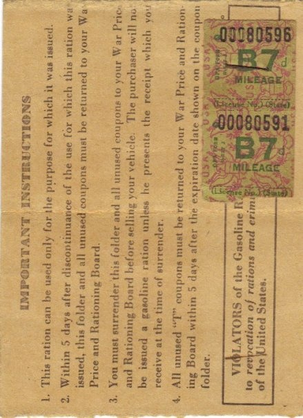 Gas ration stamps from WWII...we used these for gasoline and some foods.