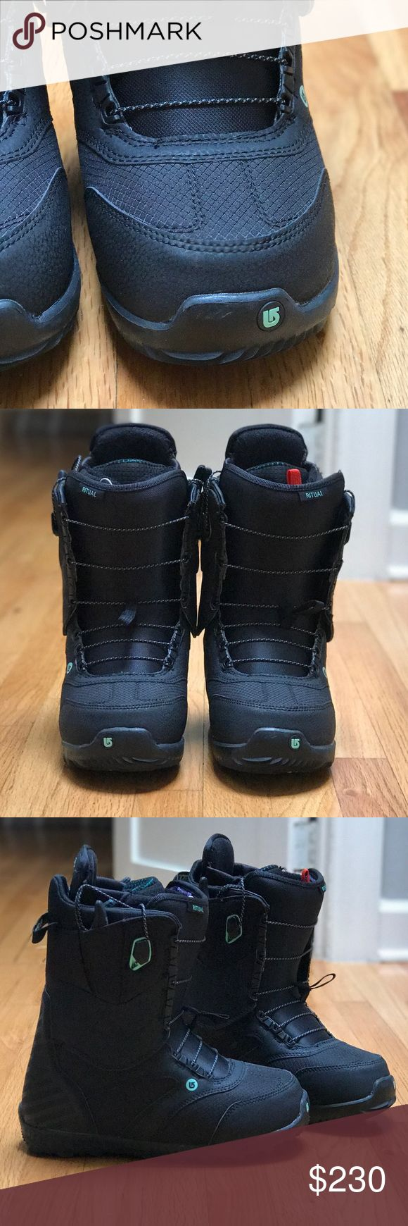 2016/2017 BURTON RITUAL BOOT *ONLY WORN 2 DAYS--LIKE NEW!** (one tiny scuff pictured above on left boot, hardly noticeable) Burton Imprint 3 Liner, Dryride Heat Cycle lining and Plush Cuff, an Aegis antimicrobial coating ensures your boots stay stank-free, DynoBite EST outsole adds a ton of grip for hiking the pipe or wandering out of bounds. High tech no longer has to mean stiff and rigid - treat yourself to comfort and all the bells and whistles with the Burton Ritual. Great mid flex boot…