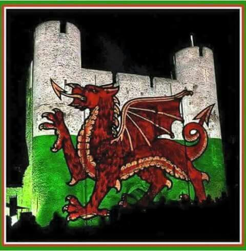 Projected on to the Keep of Cardiff Castle.