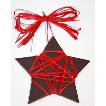 Étoile de Noël raphia marron et rouge