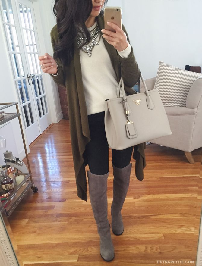 How to style over the knee tall boots: leggings, statement necklace, drape cardigan