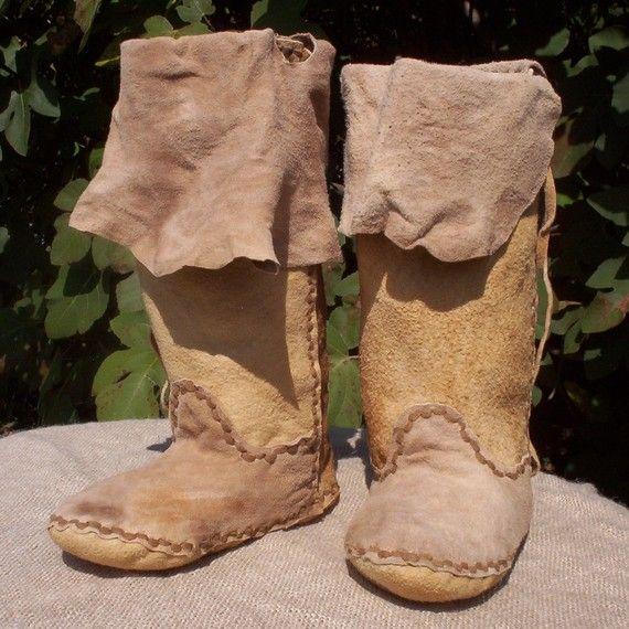 Brain Tanned Buckskin Plains Moccasin Boots 5/6 by PahanaHides