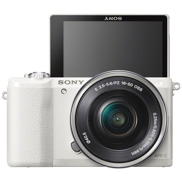 Offering the speed and versatility required by multimedia photographers, the white Alpha a5100 Mirrorless Digital Camera from Sony combines a high-resolution sensor, hybrid AF system, and apt video re