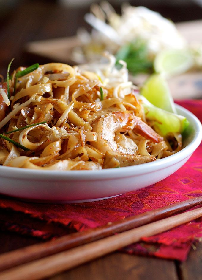 Shrimp Pad Thai - choose from 2 recipes! An everyday home version OR a real restaurant recipe from the critically acclaimed Spice I Am.