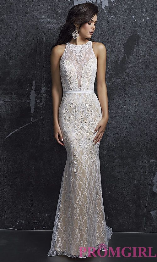 Open Back, Illusion Lace Deep V-Neck Long Prom Dress