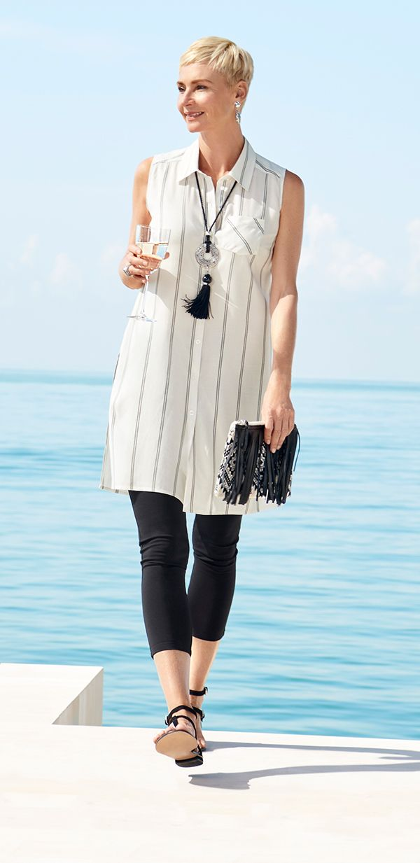 Monday: LUNCH ON THE DECK 'Leggings are super comfortable and fit into any small carry-on. I love them paired with tunic-length tops—it makes you look taller and thinner. (And who doesn't want that?)'