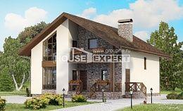 155-001-П Проект двухэтажного дома с мансардой и гаражом, классический домик из твинблока