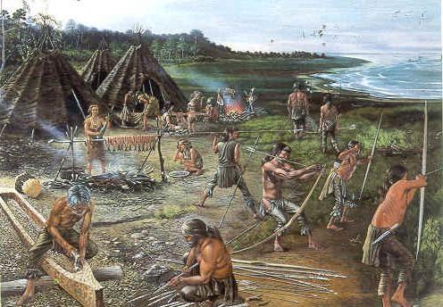 Jagers leefde in de prehistorie in kleine groepen, ze verdeelde de taken goed. Hier zie je sommige wapens maken, eten bereiden, en er is ook een jager een kano aan het maken voor het vissen. Ze beslissen alles samen. We denken dat de bestuursvorm van de jagers en verzamelaars democratie is. Dat is dus de politiek van de jagers en verzamelaars.